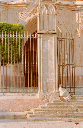 """Gate entry to Parochial Church designed by Indian Architect Cerefino Gutierrez in San Miguel de Allende, Mexico"""