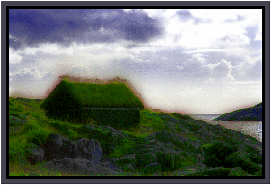 """Gras-Roofed Stone Hut"" Norway : Real World : American artist digital invention archival artifact color print image emerging capture creative delivery convergent transparency divine delivery infinite universe image writer water dream history painter heartwelder"
