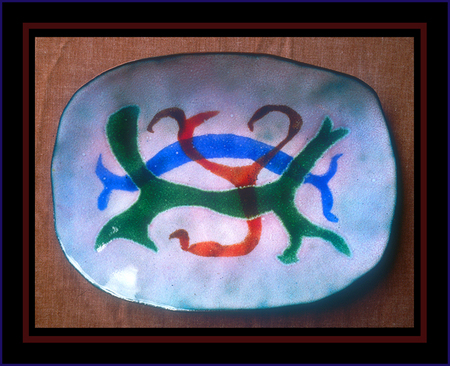 """Tri-Colored Enameled Bowl"""